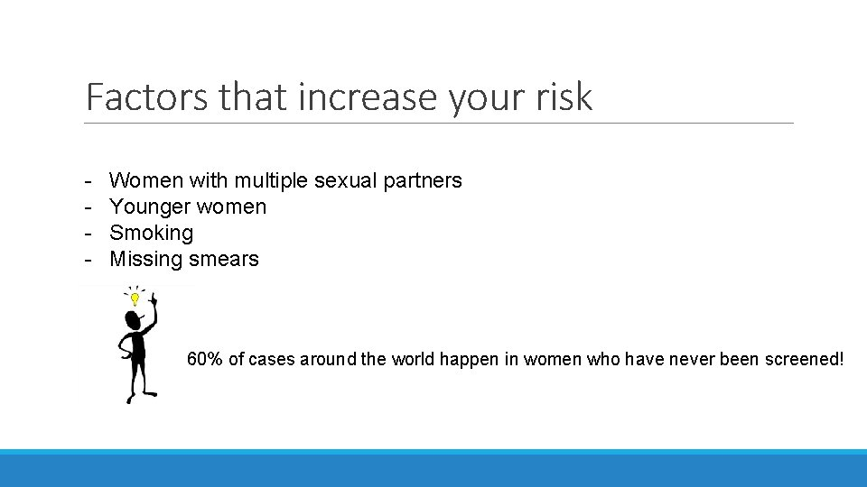 Factors that increase your risk - Women with multiple sexual partners Younger women Smoking