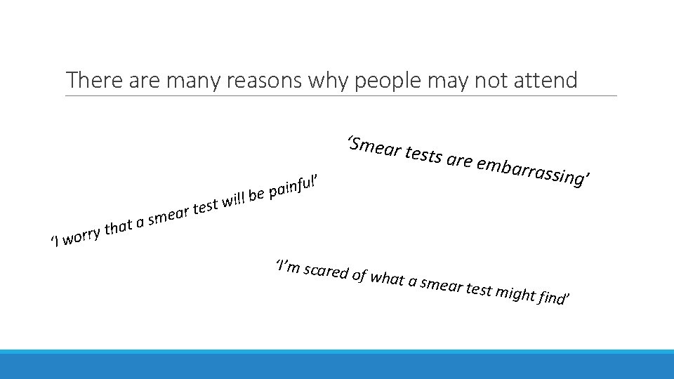 There are many reasons why people may not attend 'Smear t h t y