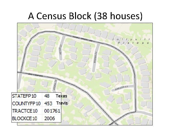A Census Block (38 houses) Texas Travis