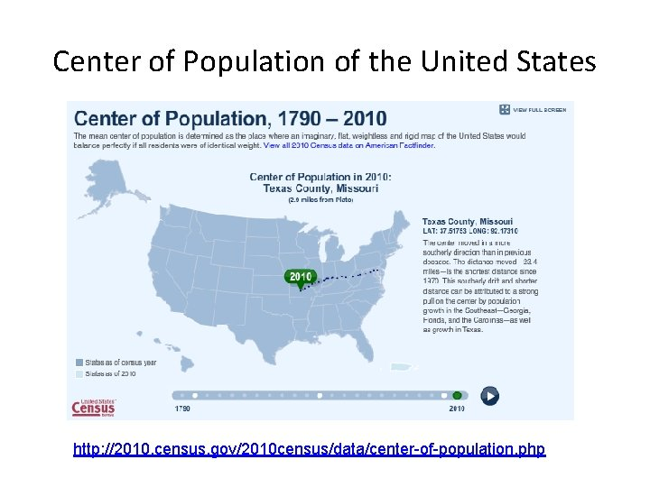 Center of Population of the United States http: //2010. census. gov/2010 census/data/center-of-population. php
