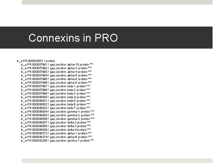 Connexins in PRO is_a PR: 00001 ! protein is_a PR: 000007991 ! gap junction