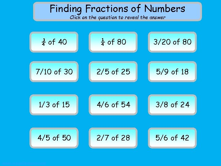 Finding Fractions of Numbers Click on the question to reveal the answer 3040 ¾