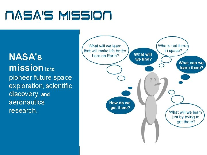 NASA's Mission NASA's mission is to pioneer future space exploration, scientific discovery, and aeronautics