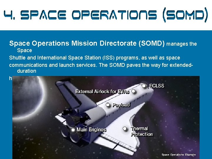4. Space Operations (SOMD) Space Operations Mission Directorate (SOMD) manages the Space Shuttle and