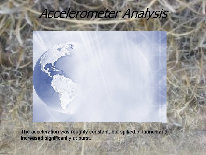Accelerometer Analysis The acceleration was roughly constant, but spiked at launch and increased significantly