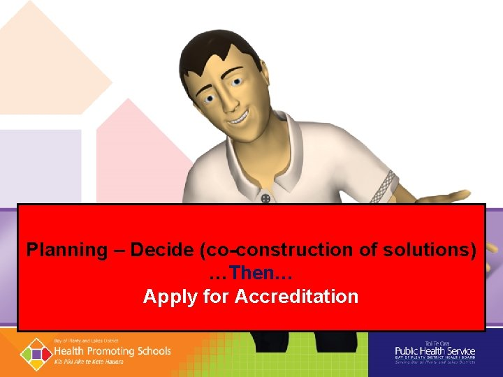 Planning – Decide (co-construction of solutions) …Then… Apply for Accreditation