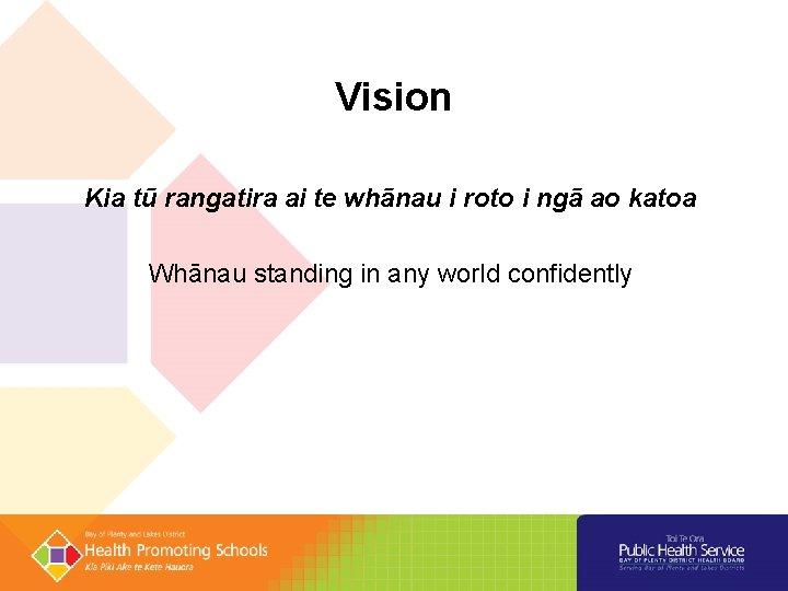 Vision Kia tū rangatira ai te whānau i roto i ngā ao katoa Whānau