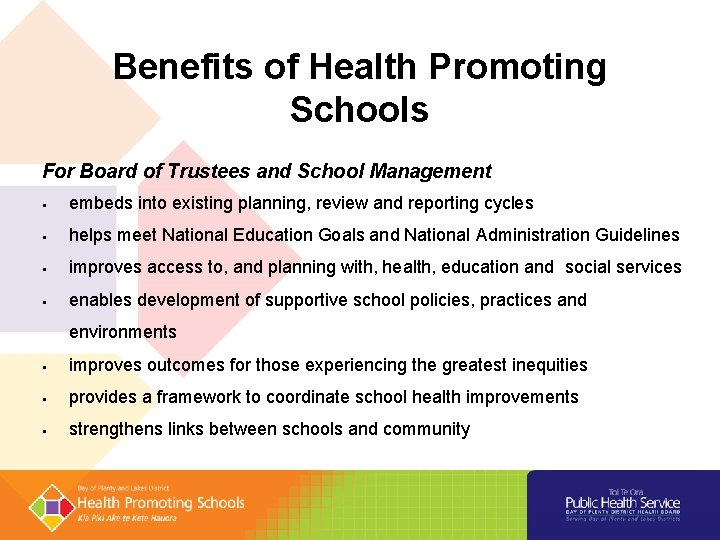 Benefits of Health Promoting Schools For Board of Trustees and School Management embeds into