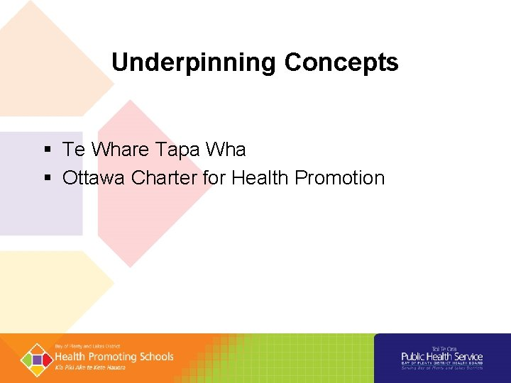 Underpinning Concepts Te Whare Tapa Wha Ottawa Charter for Health Promotion
