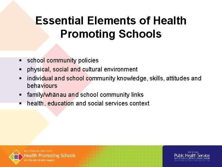 Essential Elements of Health Promoting Schools school community policies physical, social and cultural environment