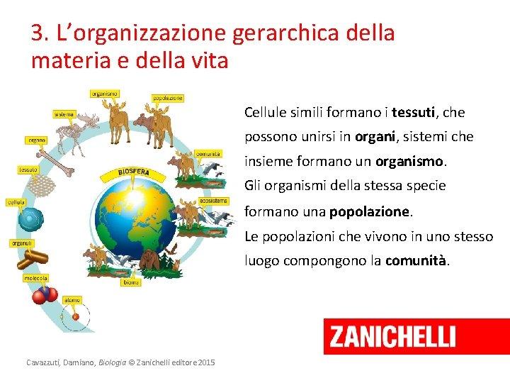 3. L'organizzazione gerarchica della materia e della vita Cellule simili formano i tessuti, che