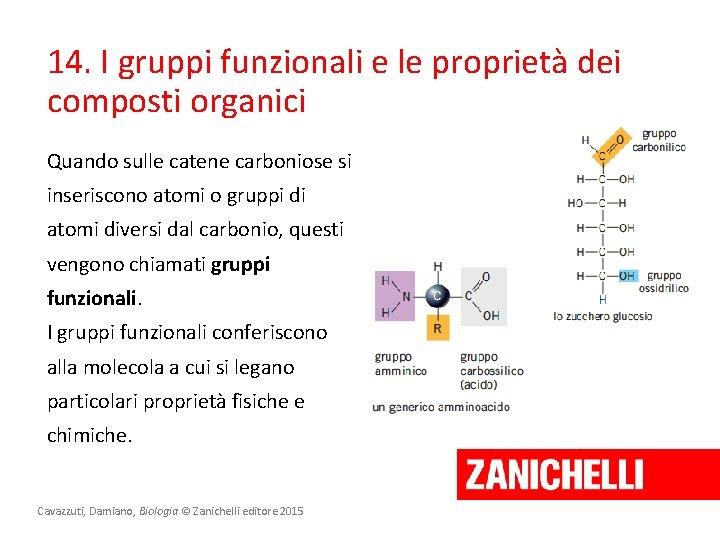 14. I gruppi funzionali e le proprietà dei composti organici Quando sulle catene carboniose