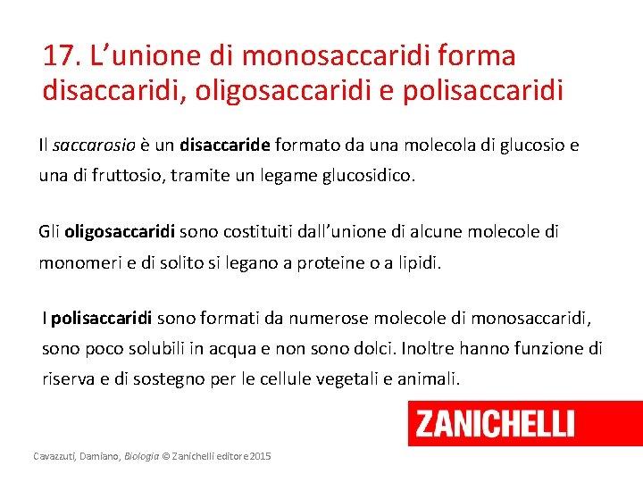 17. L'unione di monosaccaridi forma disaccaridi, oligosaccaridi e polisaccaridi Il saccarosio è un disaccaride