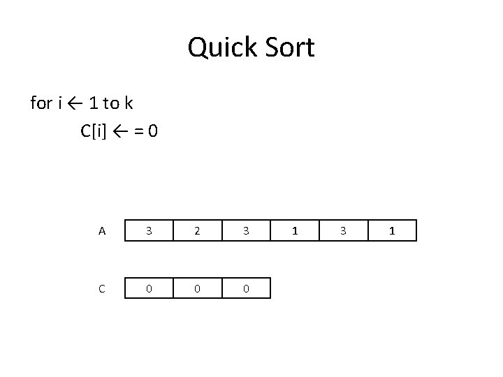 Quick Sort for i ← 1 to k C[i] ← = 0 A 3