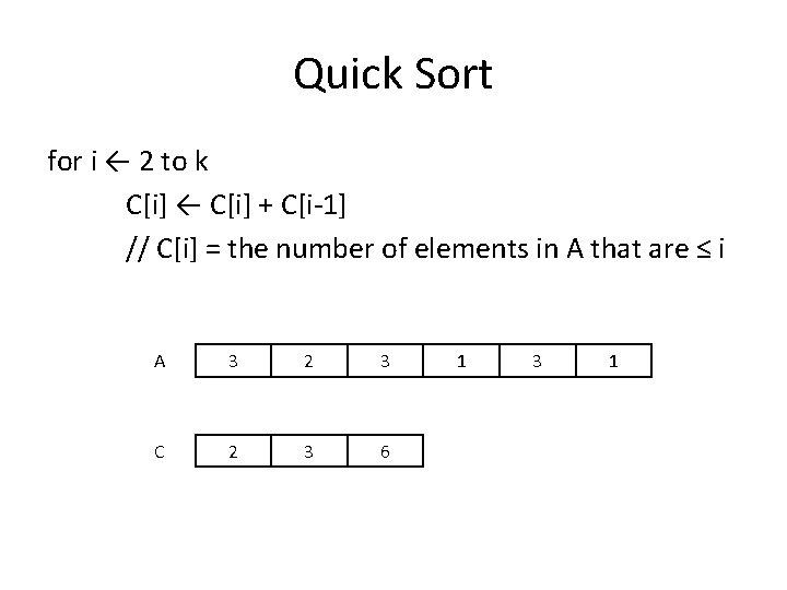Quick Sort for i ← 2 to k C[i] ← C[i] + C[i-1] //