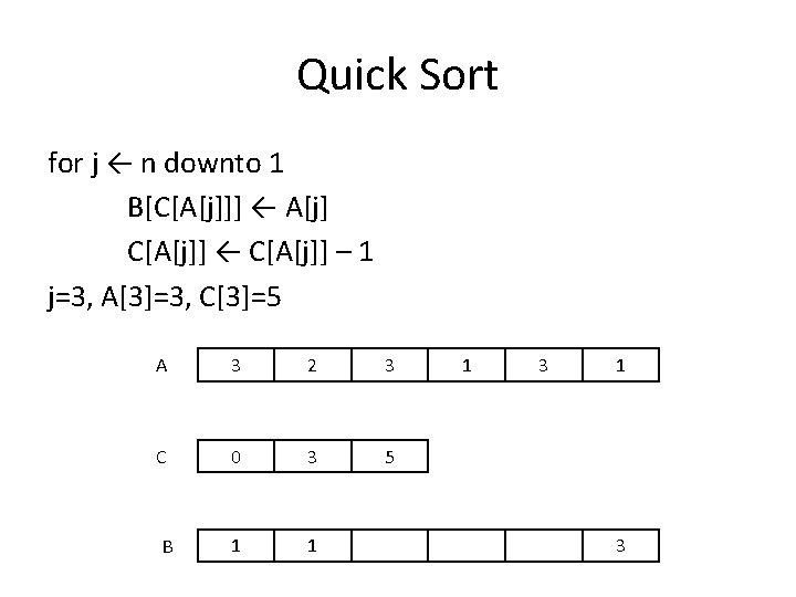 Quick Sort for j ← n downto 1 B[C[A[j]]] ← A[j] C[A[j]] ← C[A[j]]