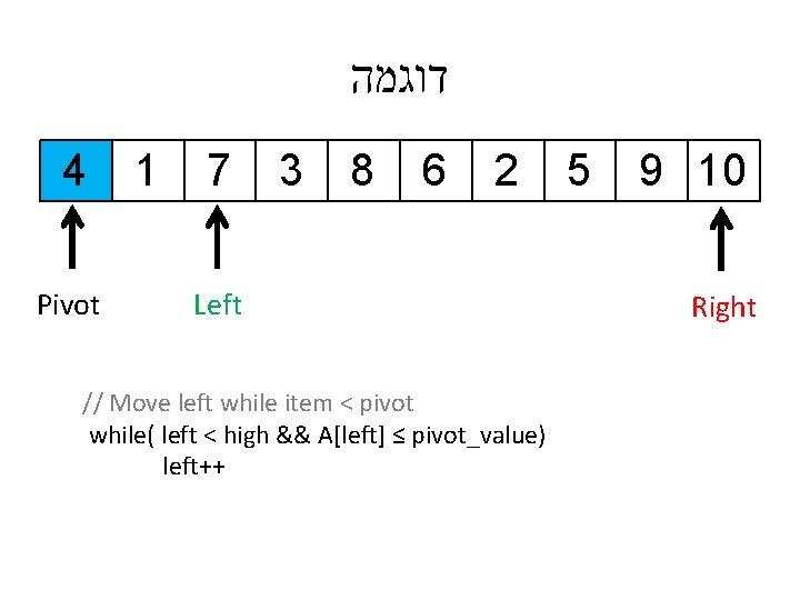 דוגמה 4 Pivot 1 7 3 8 6 2 Left // Move left