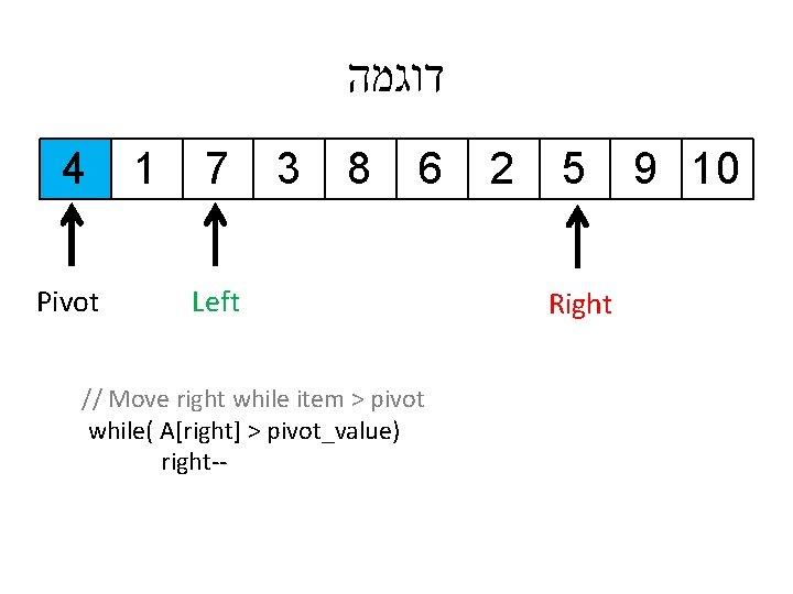 דוגמה 4 Pivot 1 7 3 8 6 Left // Move right while