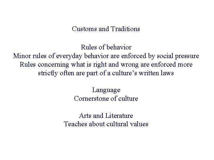 Customs and Traditions Rules of behavior Minor rules of everyday behavior are enforced by
