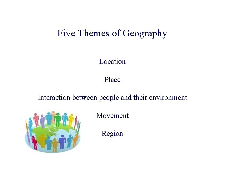 Five Themes of Geography Location Place Interaction between people and their environment Movement Region