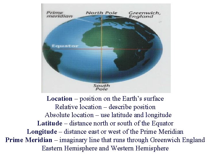 Location – position on the Earth's surface Relative location – describe position Absolute location