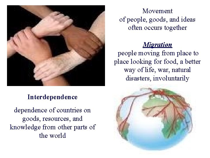 Movement of people, goods, and ideas often occurs together Migration people moving from place