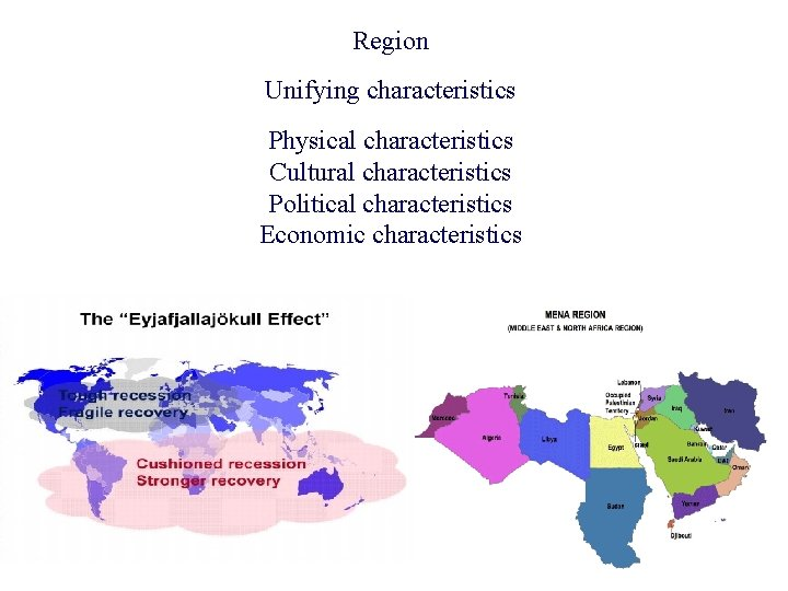 Region Unifying characteristics Physical characteristics Cultural characteristics Political characteristics Economic characteristics