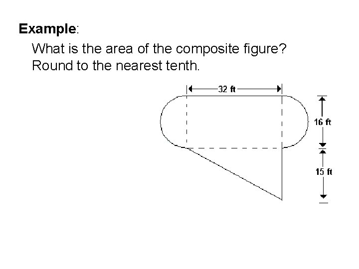 Example: What is the area of the composite figure? Round to the nearest tenth.