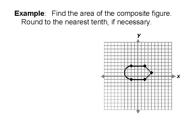 Example: Find the area of the composite figure. Round to the nearest tenth, if