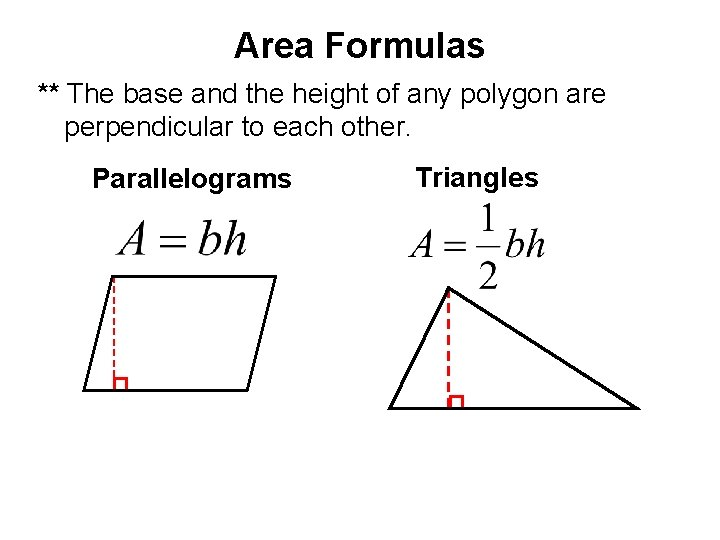 Area Formulas ** The base and the height of any polygon are perpendicular to