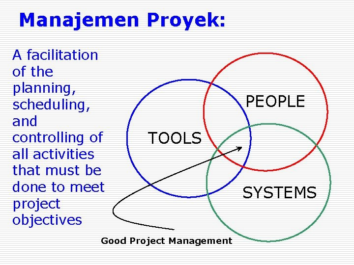 Manajemen Proyek: A facilitation of the planning, scheduling, and controlling of all activities that