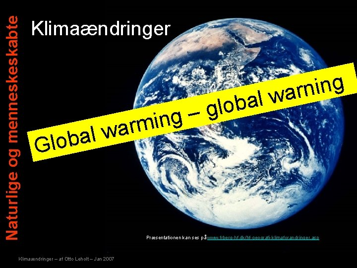 Naturlige og menneskeskabte Klimaændringer g n i n r a w l a b