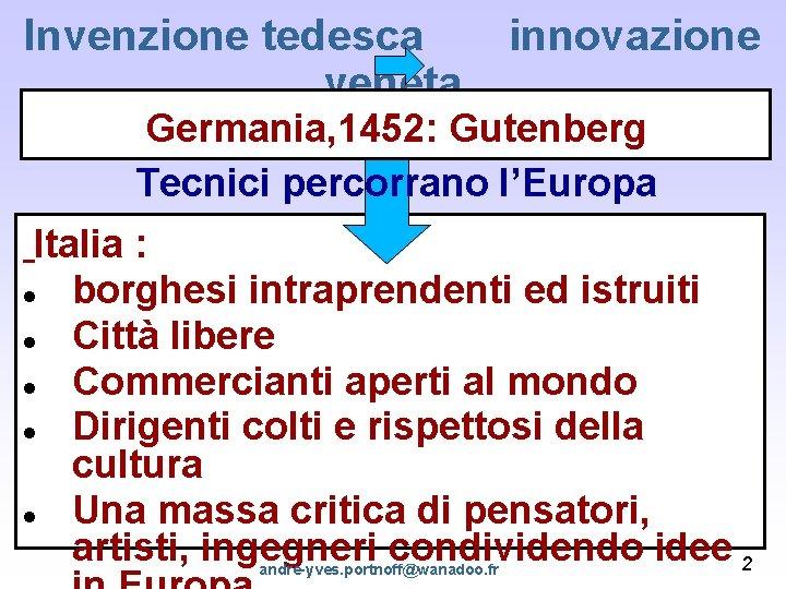 Invenzione tedesca innovazione veneta Germania, 1452: Gutenberg Tecnici percorrano l'Europa Italia : borghesi intraprendenti