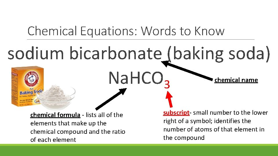 Chemical Equations: Words to Know sodium bicarbonate (baking soda) Na. HCO 3 chemical name