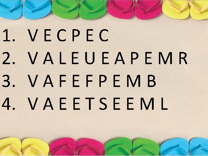 1. 2. 3. 4. VECPEC VALEUEAPEMR VAFEFPEMB VAEETSEEML