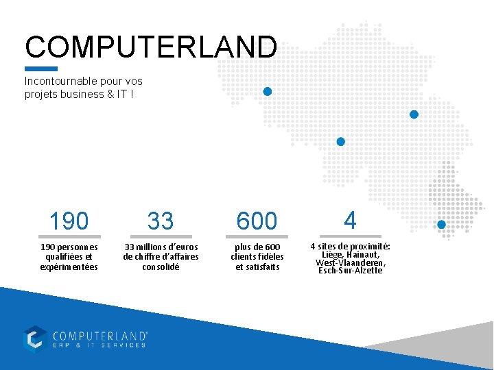 COMPUTERLAND Incontournable pour vos projets business & IT ! 190 33 600 4 190