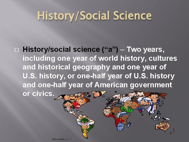 """History/Social Science � History/social science (""""a"""") – Two years, including one year of world"""