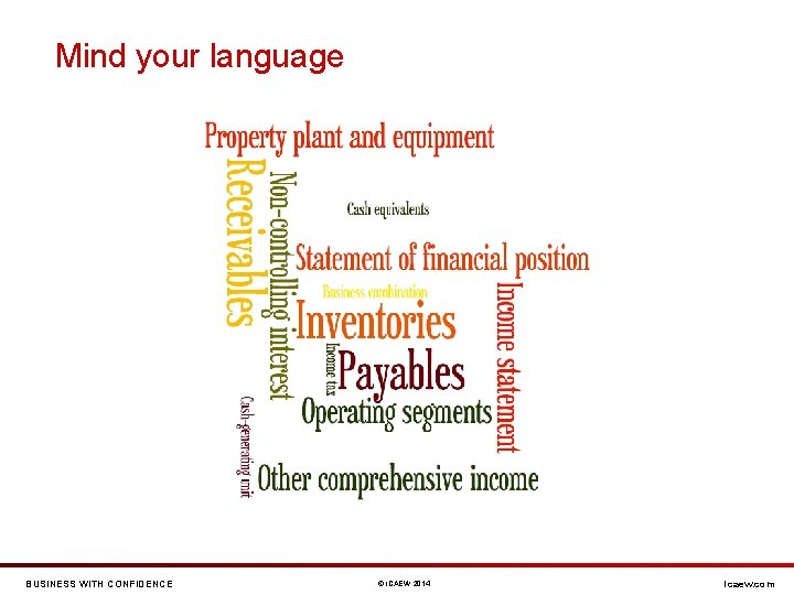 Mind your language BUSINESS WITH CONFIDENCE © ICAEW 2014 icaew. com