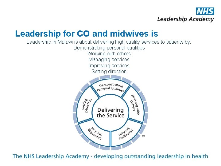 Leadership for CO and midwives is Leadership in Malawi is about delivering high quality