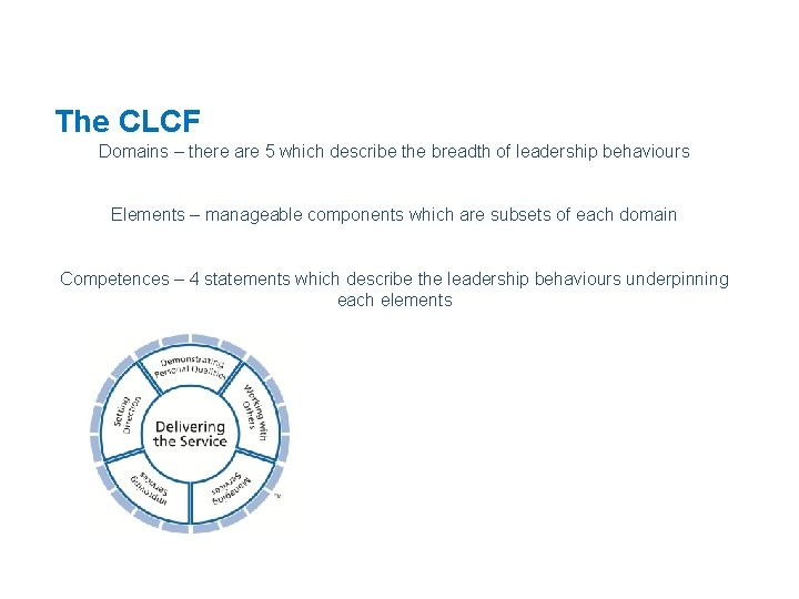 The CLCF Domains – there are 5 which describe the breadth of leadership behaviours