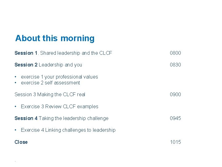 About this morning Session 1. Shared leadership and the CLCF 0800 Session 2 Leadership