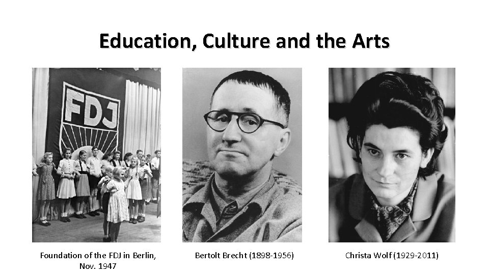Education, Culture and the Arts Foundation of the FDJ in Berlin, Nov. 1947 Bertolt