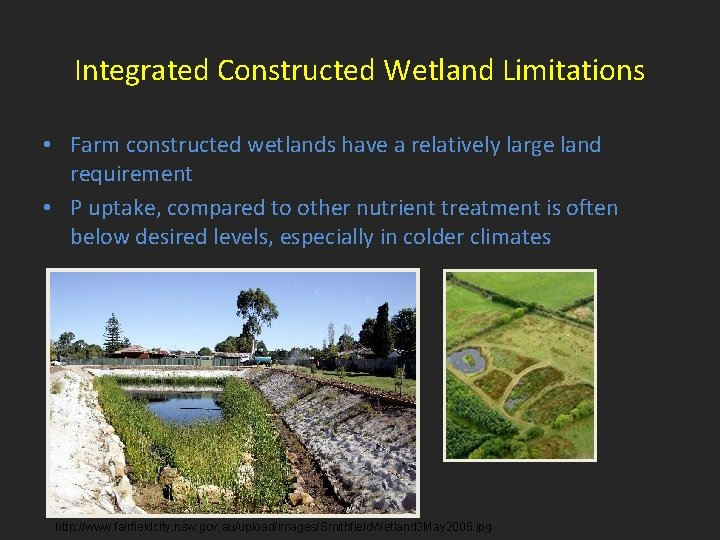 Integrated Constructed Wetland Limitations • Farm constructed wetlands have a relatively large land requirement