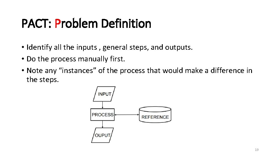 PACT: Problem Definition • Identify all the inputs , general steps, and outputs. •