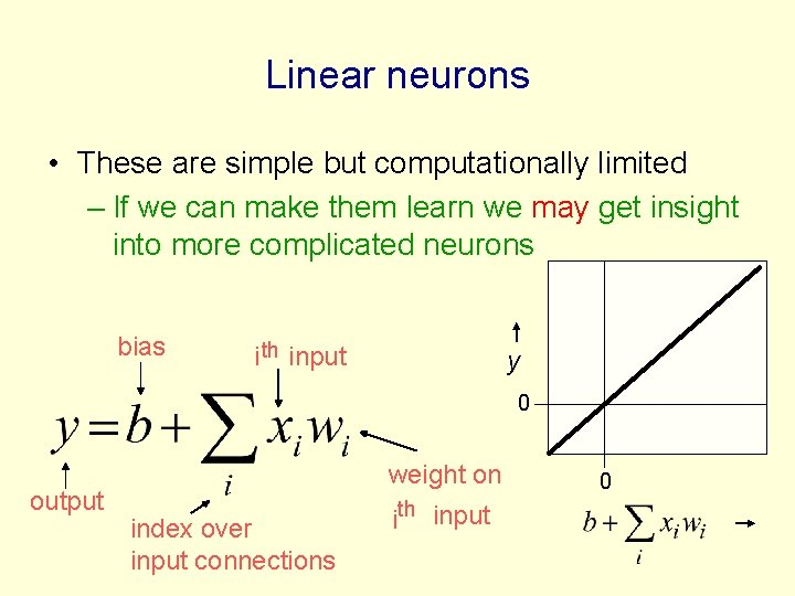 Linear neurons • These are simple but computationally limited – If we can make