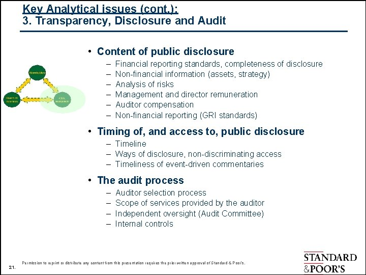 Key Analytical issues (cont. ): 3. Transparency, Disclosure and Audit • Content of public