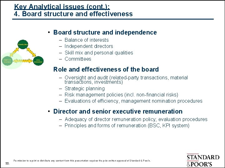 Key Analytical issues (cont. ): 4. Board structure and effectiveness • Board structure and