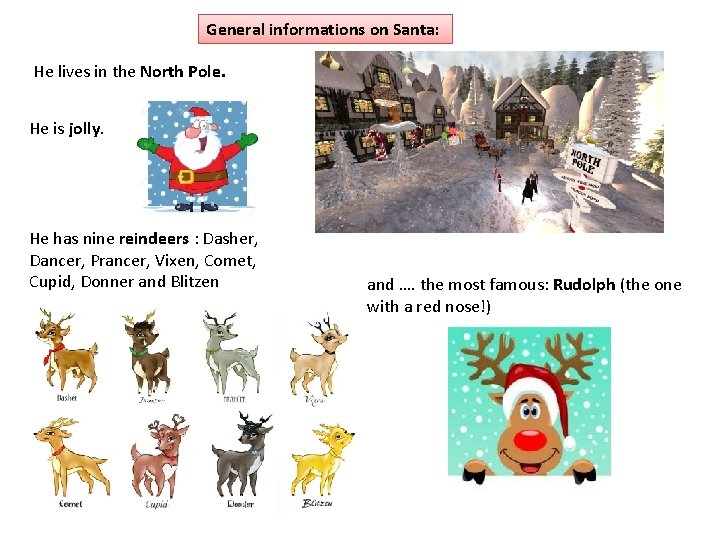 General informations on Santa: He lives in the North Pole. He is jolly. He