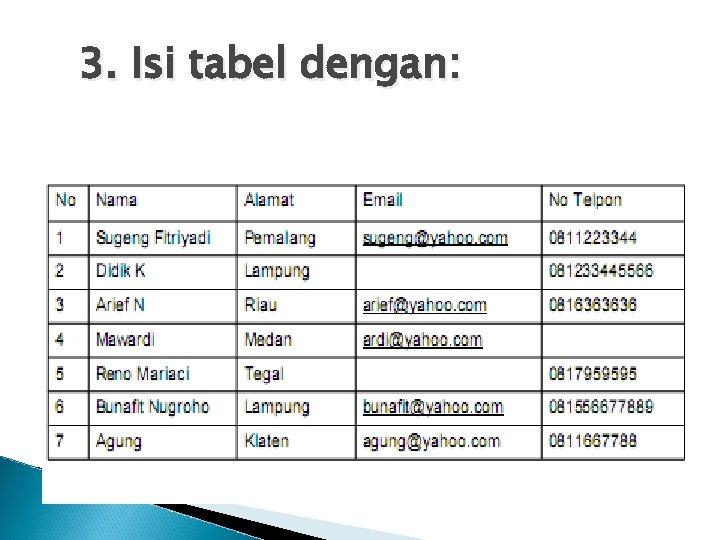 3. Isi tabel dengan: