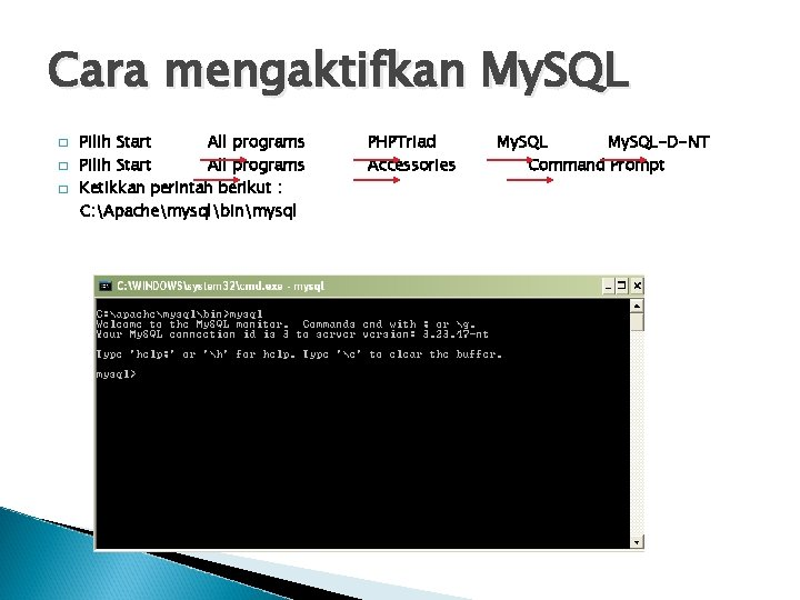 Cara mengaktifkan My. SQL � � � Pilih Start All programs Ketikkan perintah berikut
